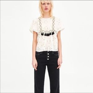 Zara embroidered top with tassels